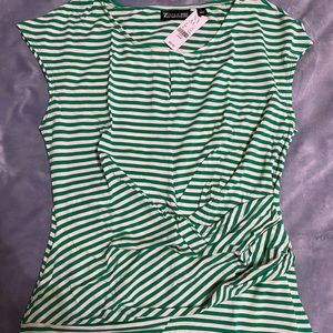 Striped green cinched top